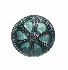 Pretty Czech Glass Wheel Button Teal Green w/ Black & Gold Accents 27mm