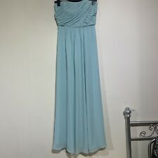 M&S Blue Ruched Prom Dress Evening Ball Gown Long Maxi Lined 8