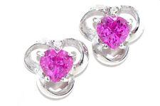 1 Carat Pink Sapphire Heart & Diamond Stud Earrings White Gold Silver