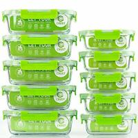 Glass Containers Food Storage with Lids, 10-Pack Meal Prep Containers 2 Sizes