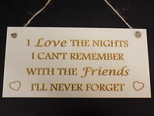 """I Love The Nights I Can't Remember"" Friends Friendship Gift Wooden Plaque Sign"