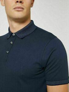 Mens Navy Blue Short Sleeve Polo Shirt With Spot Collar By Burton BNWT - XL