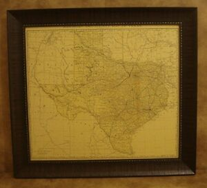 1893 TEXAS RAILROAD & COUNTY MAP FRAMED IN RUSTIC FRAME