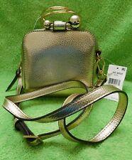 H82 Nine West Gold Faux Leather Moxie Top-Handle Mini Crossbody Handbag