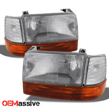 Fit 92-96 Ford Bronco F150 F250 F350 Replacement Headlights Amber Bumper Corner