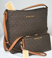 NEW MICHAEL KORS MK SIGNATURE BROWN JET SET TRAVEL MESSENGER BAG WALLET SET