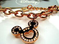"Clad Heart Bracelet 7.5"" Disney Mickey Mouse Rose 18K"