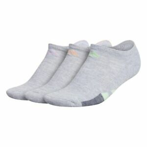 NEW Adidas No Show Socks Womens Large 5-10 Gray Color Stripes Cushioned