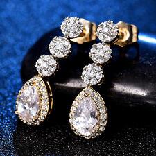 Dangle Stud Pear Crystal Sapphire Silver Gold Filled Women Lady Bridal Earrings