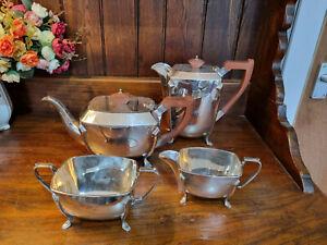 Good Vintage Art Deco Style Sheffield EPNS Four Piece Tea Set - See Photos