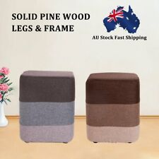 New Foot Stool Fabric Ottoman Pouffe Footstools Rest Seat Wooden