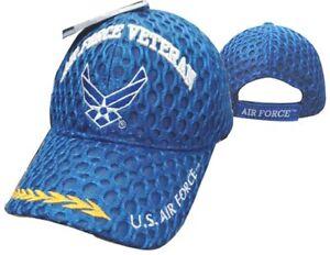 U.S. AIR FORCE VETERAN W/SCRAMBLED EGGS (MESH) Military Baseball Cap
