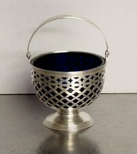 TIFFANY & CO STERLING SILVER FOOTED BASKET STYLE CANDY DISH WITH COBALT INSERT