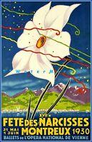 Montreux Switzerland 1930 Fete Des Narcisses Vintage Poster Print Retro Art