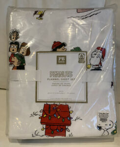 Pottery Barn PB Teen Peanuts Holiday Queen Sheet Set Flannel Christmas NEW 4-pc