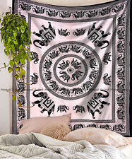 Black and white elephant mandala tapestry wall hanging indian cotton bedspread
