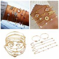 6Pcs/Set Women Gold Filled Opening Arrow Crystal Compass Bangle Bracelets