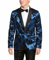 INC Mens Suit Seperates Blue Size Small S Slim Fit Flocked Blazer $149 343