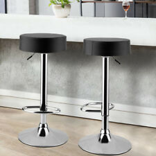 Black 2 Bar Stools Padded Faux Leather Kitchen Breakfast Stool Swivel Gas Lift