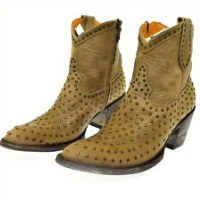 Mexicana Old Gringo Leather Boots 39.5 US 9 Bone Laguna Tan Nail Head