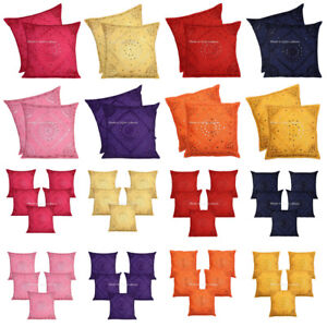 """Bohemian Cushion Covers 60 x 60 Mirror Embroidered Large Pillow Cases Indian 24"""""""