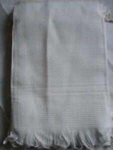 Lot 6 anciens torchons /serviettes en coton nid d'abeille, état neuf, franges
