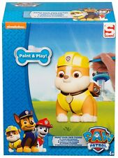 PAW PATROL RUBBLE PAINT YOUR OWN FIGURE ART PAINTING CRAFT BRUSH 5 PAINTS GIFT