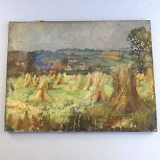 Antique Oil Painting ~ Rural Wheat Field Landscape ~ Impressionist ~ UNFRAMED