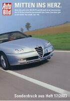 Alfa Romeo GTV 3.2 V6 + Spider Sonderdruck Auto Bild 17/03 2003 reprint test