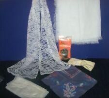 Vntg Lorraine Hair-Do Protector-Rain Bonnet-Off White Scarf-Headband-Chapel Veil