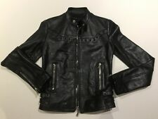 DIESEL BLACK GOLD WOMEN LEGIAN GIACCA LEATHER MOTO JACKET BLACK NWT S(38) $1379