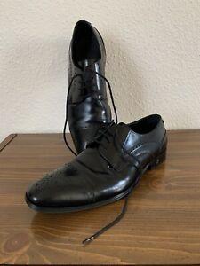 Men's Versace Collection Black Oxford Dress Shoes Size 41 US 8 Mint!