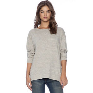 CP Shades Pam Pullover Sweatshirt Size M Oversized Linen Blend Gray Free People