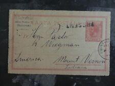 1897 Bucarest Romania postal stationary cover to Mount Vernon Indiana USA