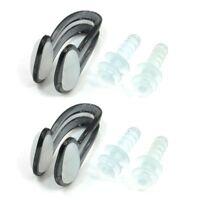 2 Pcs Swim Swimming Clear Black Nose Clip Flexible Clear Ear Plugs Set F9Y9
