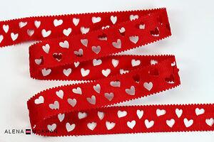 "5 yards 7/8"" Valentine Laser Cut Hearts Red Printed Grosgrain Ribbon"