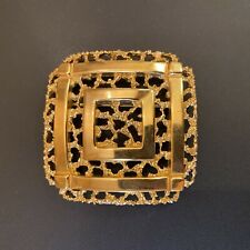 Vintage Crown Trifari  Textured & Polished Gold Tone Square Pin Brooch