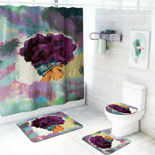 African women Shower Curtain Set Bathroom Rug Skidproof Toilet Lid Cover BathMat