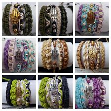P26 hamsa wholesale bulk 60 hippie,boho,surf,friendship adjustable bracelets