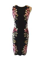 White House Black Market XS Women's Black Floral Sleeveless Dress NW0T