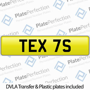 TEX 7S TEXTS MOBILE REPAIR SALES TEXAS CHERISHED PRIVATE NUMBER PLATE DVLA REG