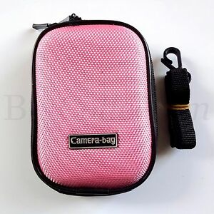 Compact Universal Hard Shell Case Zip Bag Small Digital Camera Sony Canon Pink