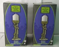 """NECA SET OF 2 NIGHTMARE BEFORE CHRISTMAS PEWTER VOTIVE 6"""" CANDLE HOLDERS"""