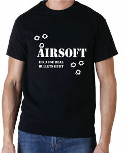 "AIRSOFT ""BECAUSE REAL BULLETS HURT"" PAINTBALL SHOOTING T SHIRT FREE UK POSTAGE"