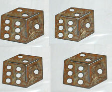 """Lot of 4 Dice Shapes 3"""" Rusty Metal Gamble Poker Vintage Ornament Craft Stencil"""