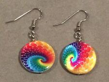 RAINBOW SWIRL Earrings Surgical Hook New Tie Dye Colors Handmade