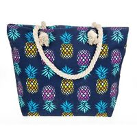Large Pineapple Canvas Beach Bag Holiday Bags Pineapples Rope Handles Zipped New