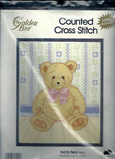 "Teddy Bear Counted Cross Stitch Kit Nursery Golden Bee 8"" x 10"" with Frame NEW"