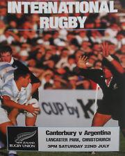 Canterbury, Nueva Zelanda V Argentina Rugby Cartel 1990