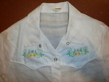 vtg 70s 80s LADIES WESTERN SHIRT Floral Yoke Softest Thin Cowgirl Pearl Snaps